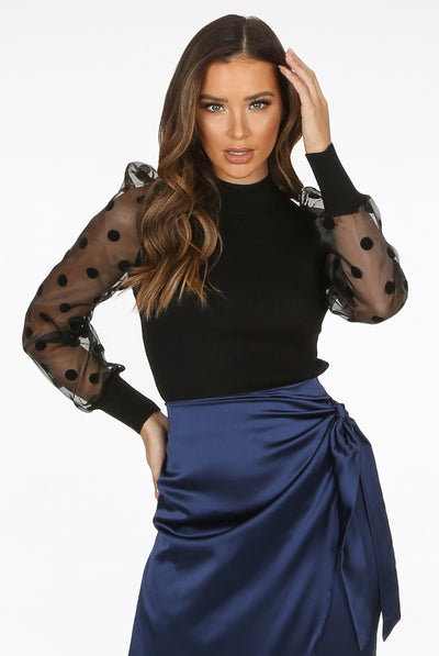 Black Polka Dot Mesh Sleeve Ribbed Bodysuit - Nolan