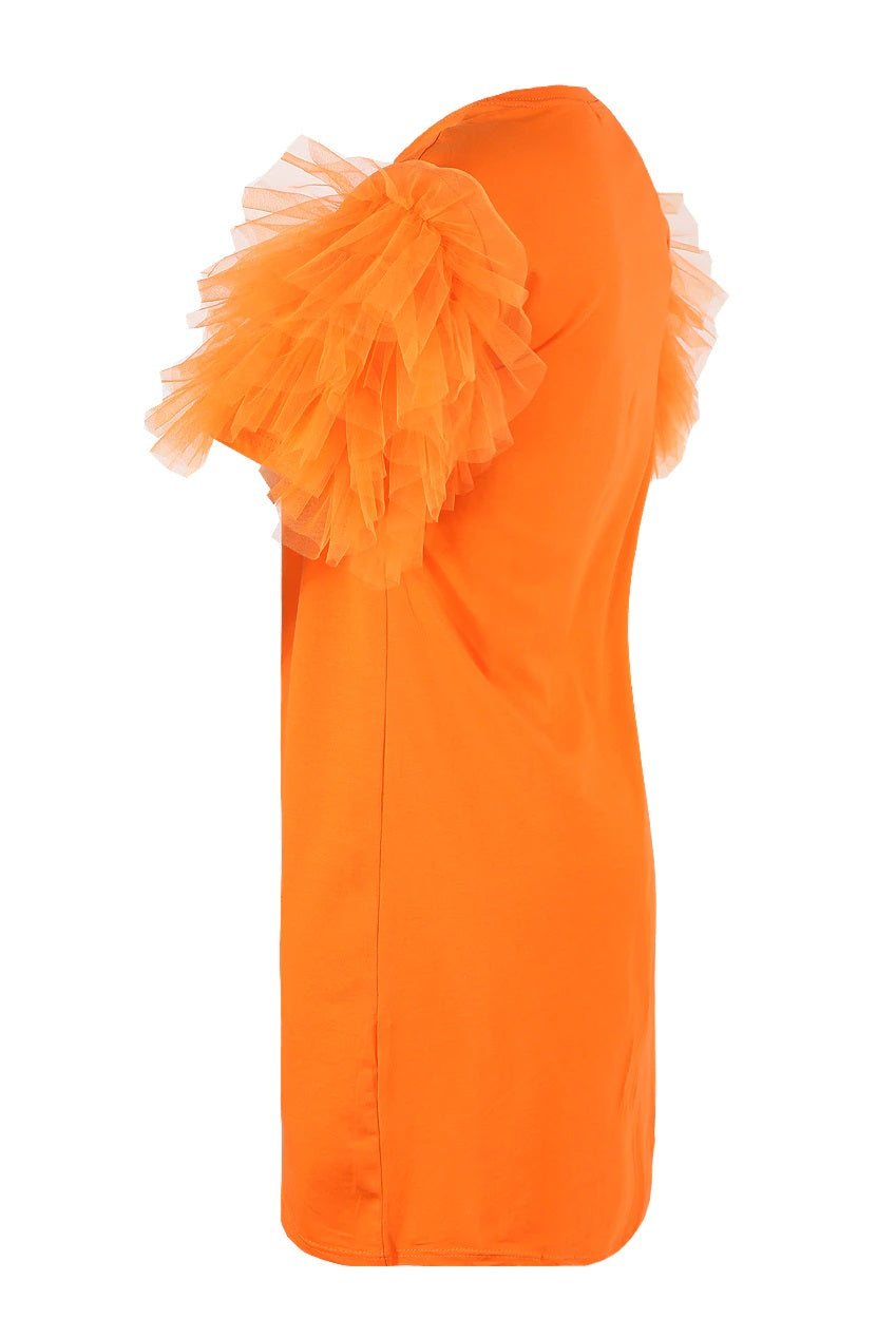 Orange Tulle Sleeve T-shirt Dress - Suzy