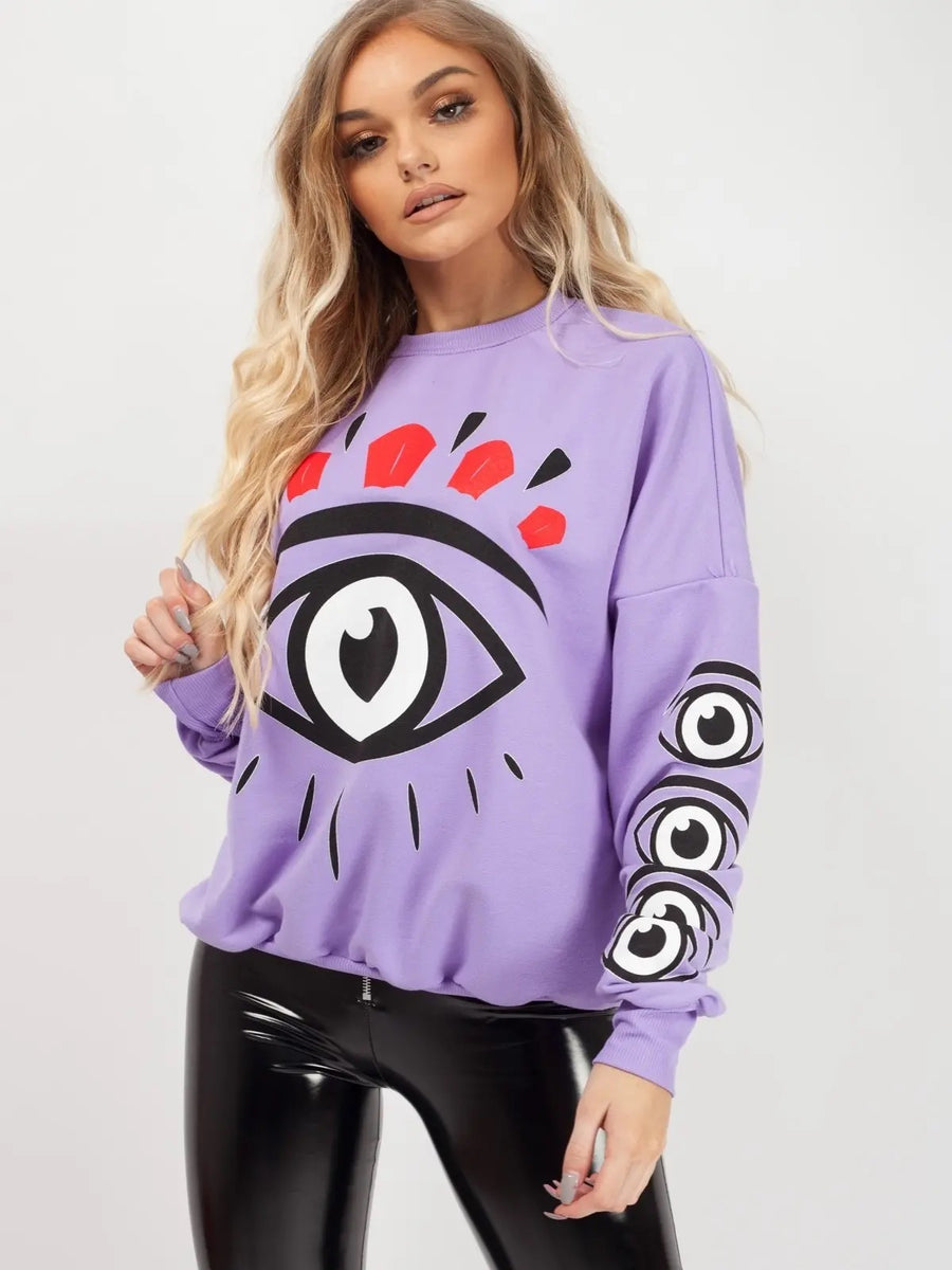Purple Big Eye Printed Sweatshirt Jumper - Molly - Storm Desire