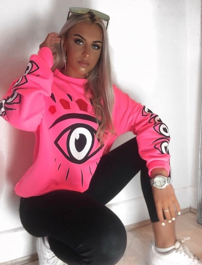 Neon Pink Big Eye Printed Sweatshirt Jumper - @freydavenport