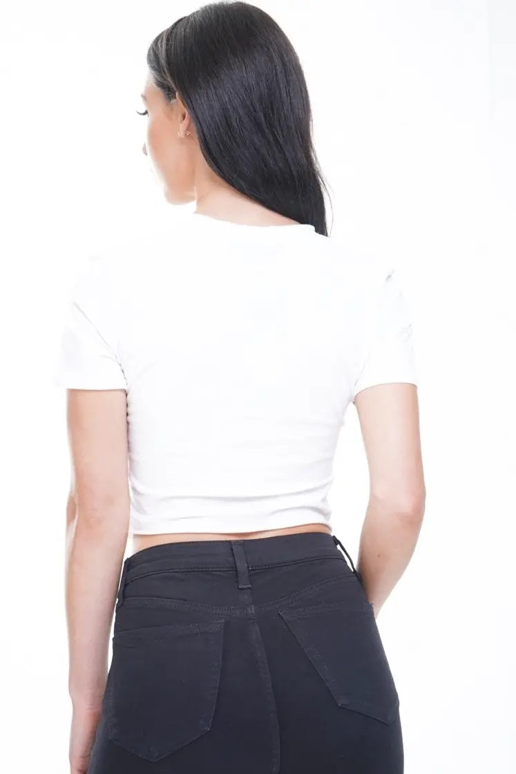 White Property Of No One Laser Cut Crop Top - Layla - Storm Desire