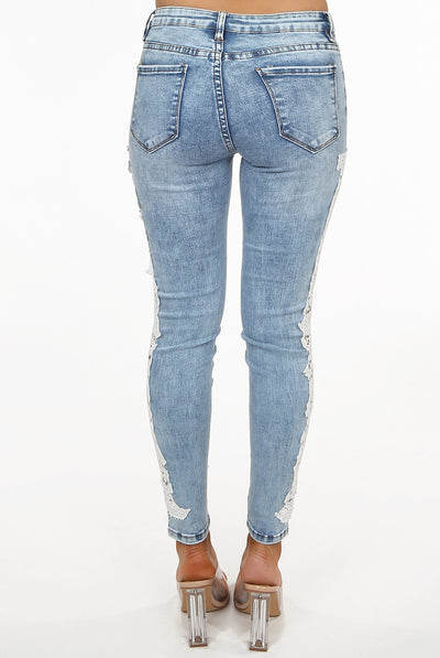 Washed Denim Lace Trim Jeans - Aspen