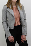 Grey Leather Zipped Biker Jacket - Juniper