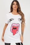 White Monster Jaw Face Printed T-Shirt - Harper