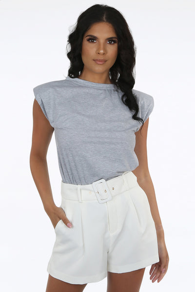 Grey Shoulder Pad T-shirt - Serenity
