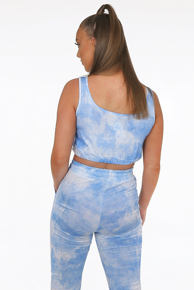 Blue Tie Dye Print Top & Pants Set - Serenity
