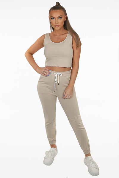 Beige Top & Pants Loungewear Set - Serenity