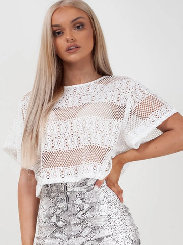 White Oversized Crochet Knit Baggy Crop Top - Josephine