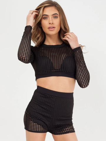Black Crochet Shorts & Top Co-ord Set - Valerie - storm desire