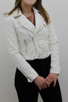 White Leather Zipped Biker Jacket - Juniper