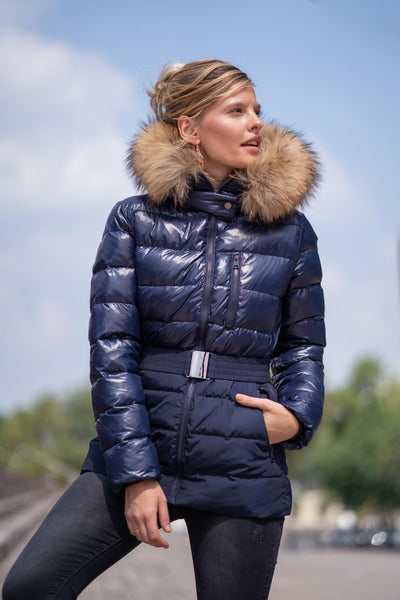 Navy Blue Natural Fur Two Tone Parka Jacket - Kailey