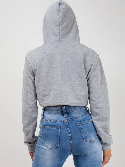 Grey Zip Up Cropped Hoodie - Alexandra
