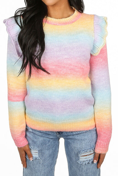 Multi Colour Knitted Frill Jumper - Alexis