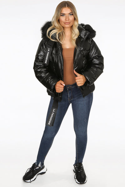 Black Lux Faux Fur Hood Quilted Jacket - Diana