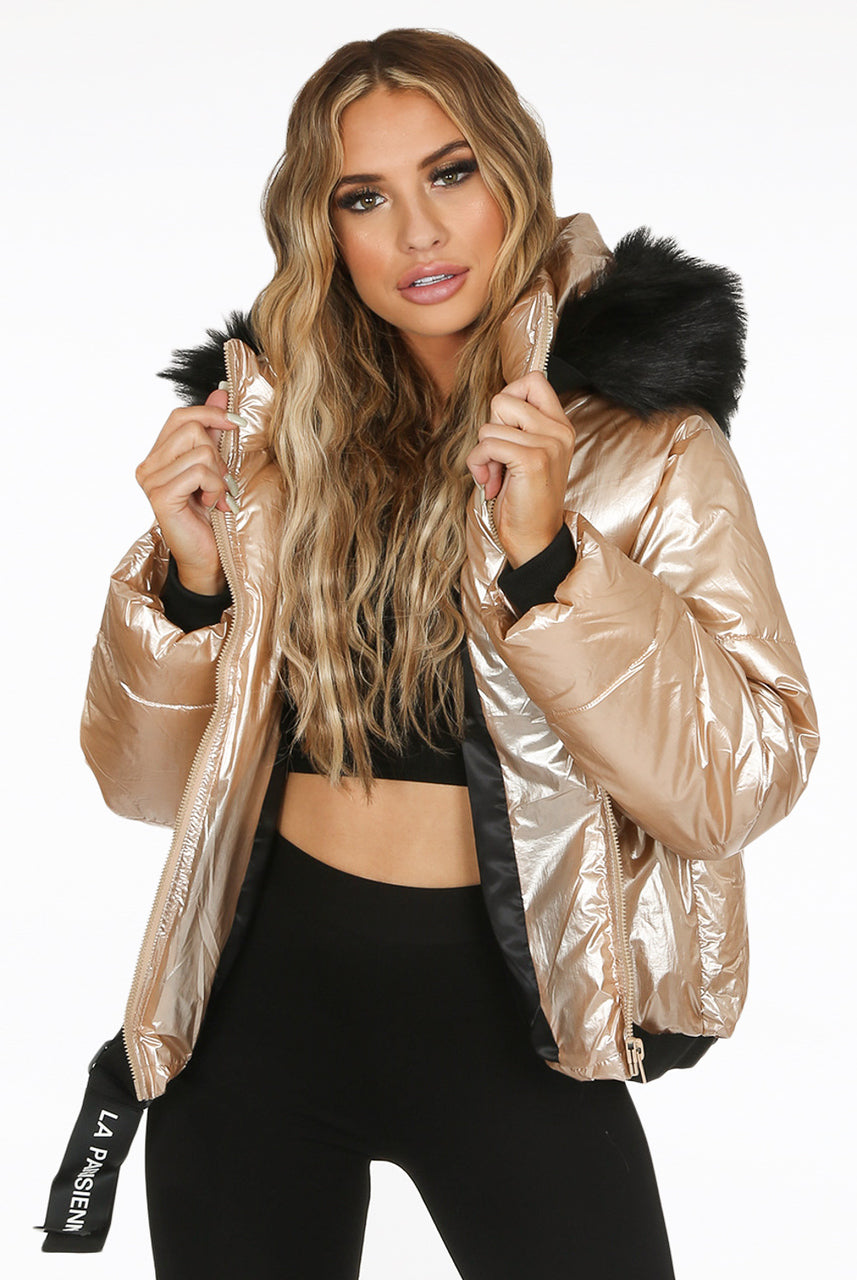 Gold Lux Faux Fur Hood Quilted Jacket - Diana