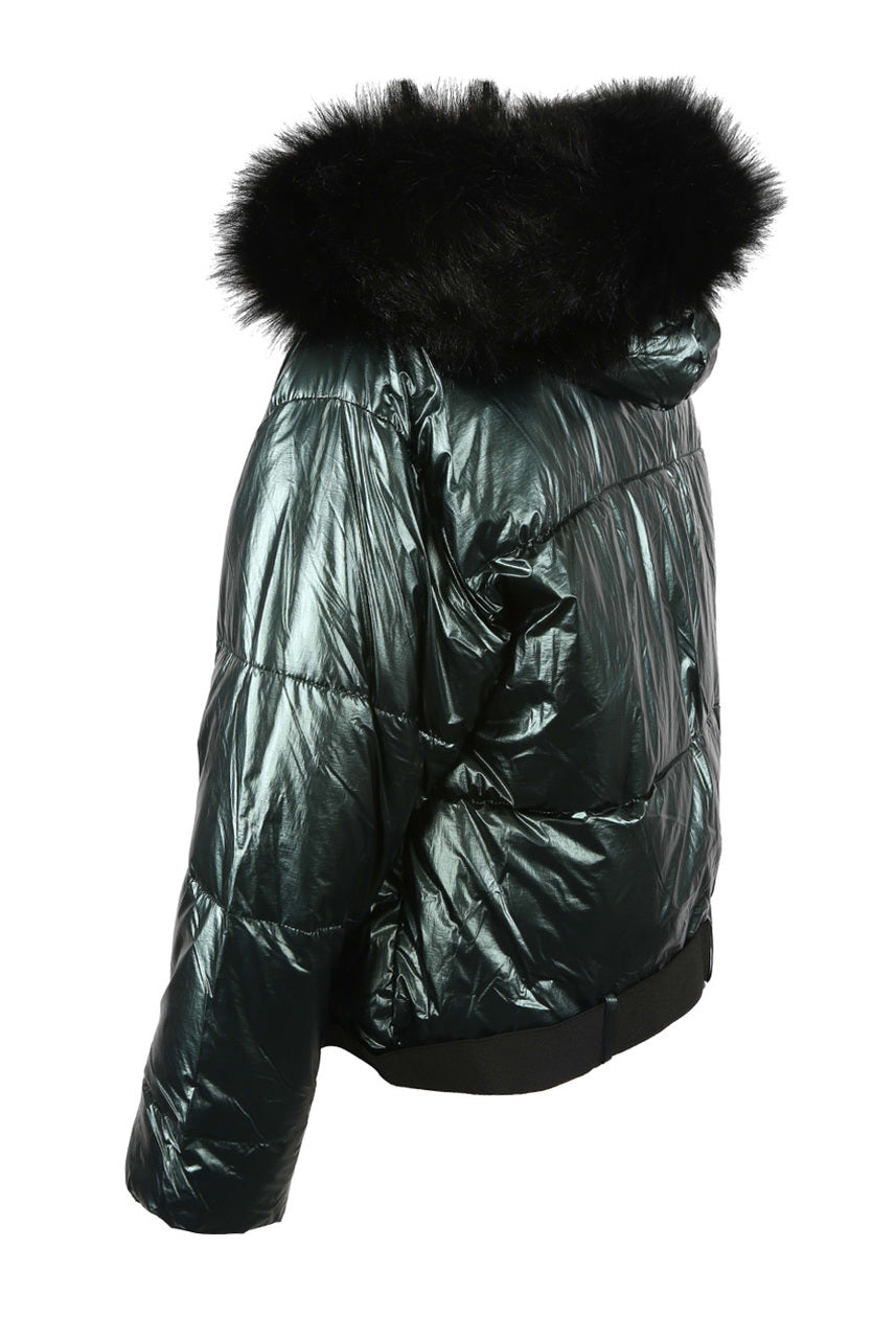 Dark Green Lux Faux Fur Hood Quilted Jacket - Diana