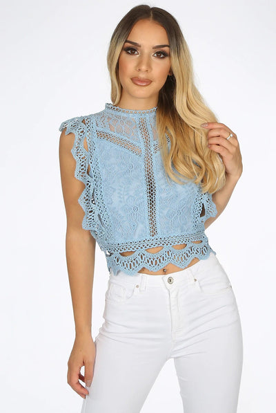 Baby Blue Lace Crochet Mesh Crop top - Emberly - storm desire