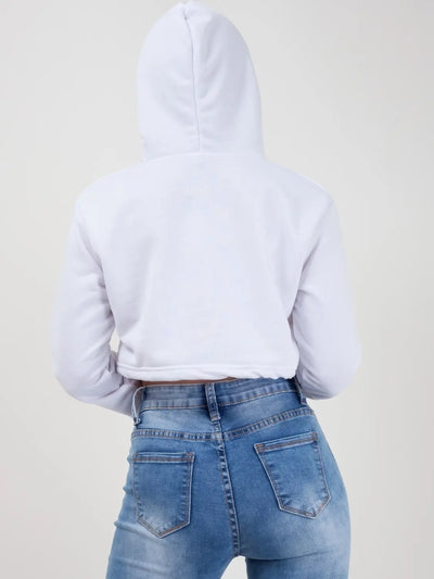 White Zip Up Cropped Hoodie - @maddiegrimaldi