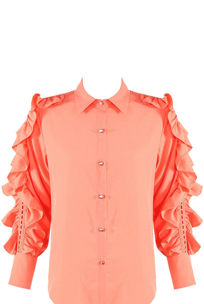 Coral Lace Frill Sleeves Shirt Blouse - Raelynn - storm desire