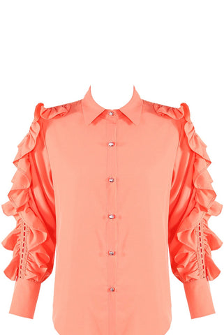 Coral Lace Frill Sleeves Shirt Blouse - Raelynn