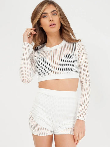 White Crochet Shorts & Top Co-ord Set - Valerie
