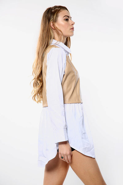 White Pu Beige Faux Leather Shirt - Jane