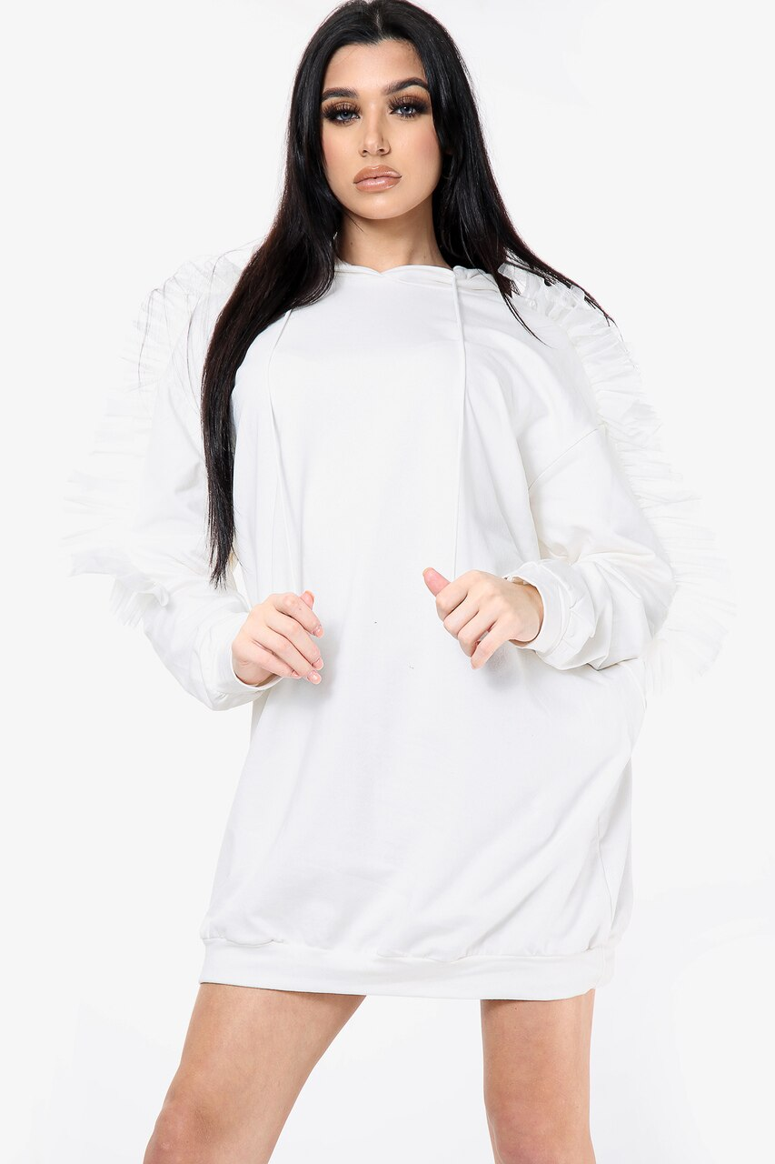 White Mesh Frill Long Line Hoodie Dress - Ruby