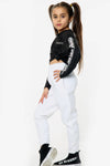 Kids White Casual Oversize Joggers Loungewear - Gloria