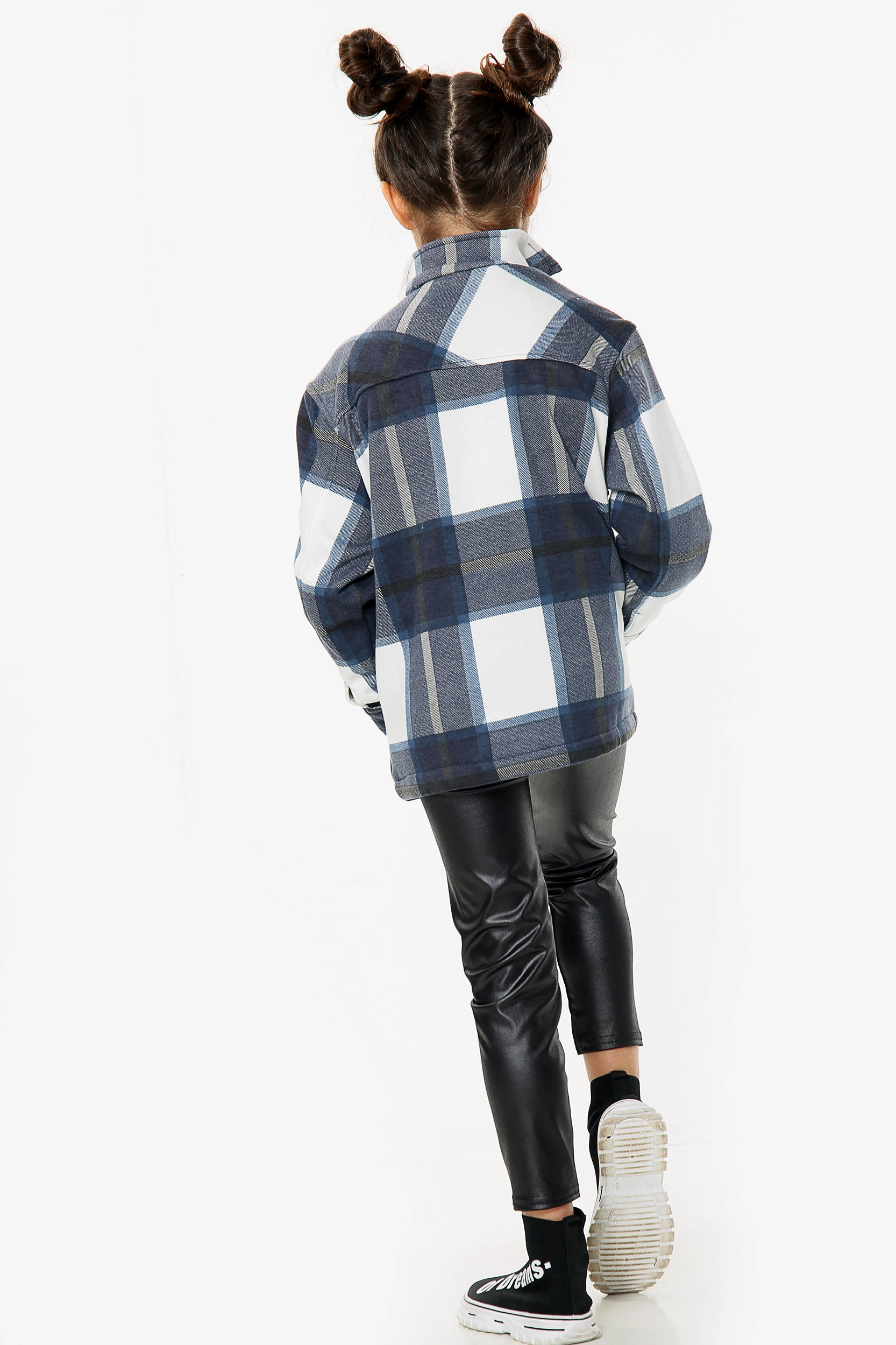 Kids Navy Blue Classic Fleece Check Shirt Jacket - Naomi