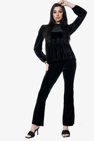 Black Velour Flared Trouser Loungewear Co-ord Suit - Hannah