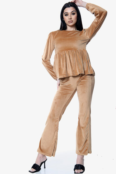 Camel Velour Flared Trouser Loungewear Co-ord Suit - Hannah