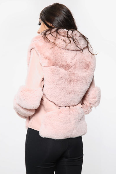 Pink Faux Fur PU Jacket - Betsy