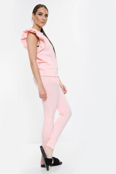 Pink Frill Sleeve Fitted Joggers Set - Erika