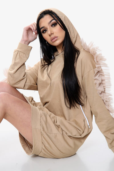 Beige Mesh Frill Long Line Hoodie Dress - Ruby