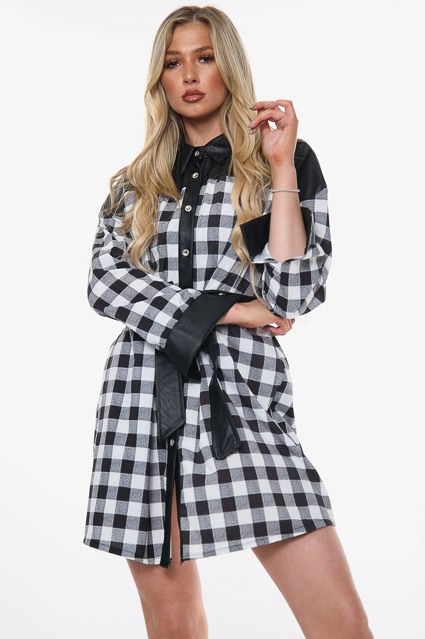 Black Check Faux Leather Trim Shirt Dress - Adelyn