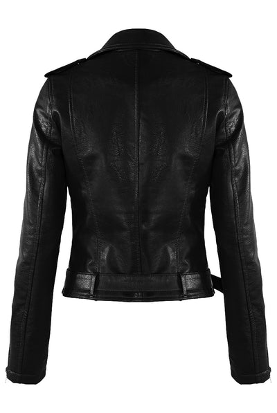 Black Leather Zipped Biker Jacket - Jenna - storm desire