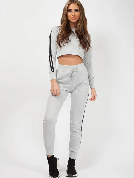 Grey Side Stripe Cropped Loungewear Set - storm desire