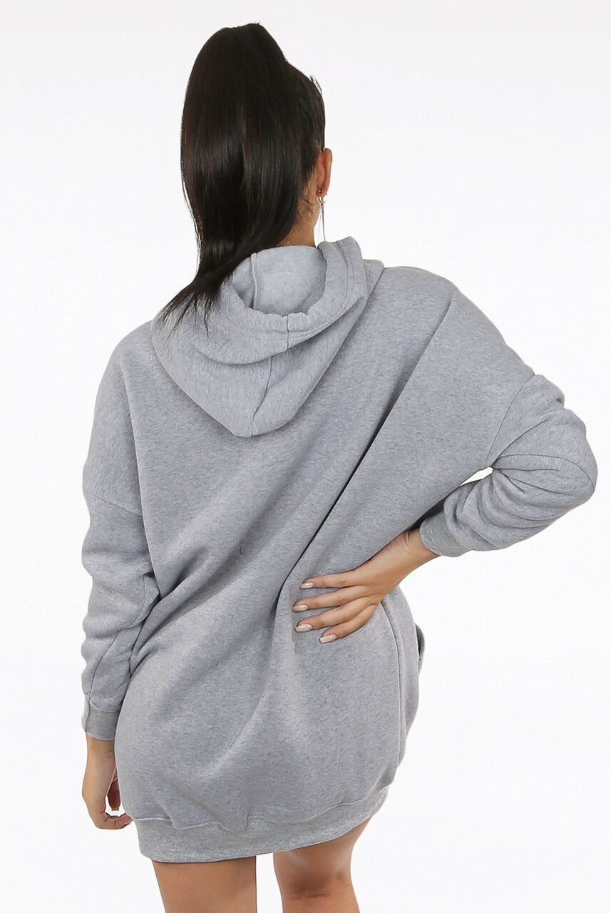 Grey Studded Skull Trim Hooded Jumper Dress -  Demi