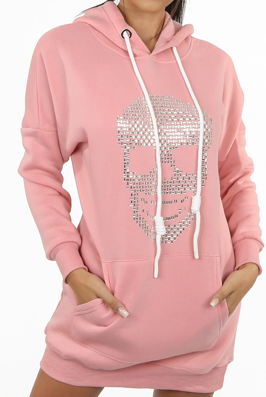 Pink Studded Skull Trim Hooded Jumper Dress -  Demi