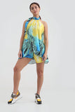 Tropical Yellow Mix Tie neck Mini Shorts Co-ord Set - Alina - Storm Desire