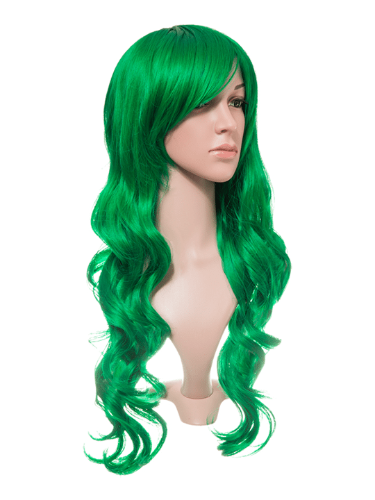 Apple Green Long Curly Party Wig - storm desire
