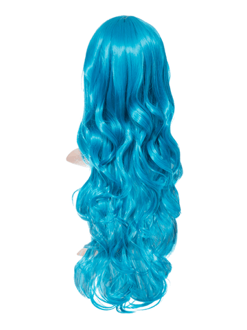 Neon Blue Long Curly Party Wig - Storm Desire