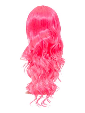 Carnation Pink Long Curly Party Wig - storm desire