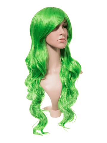 Spring Green Long Curly Party Wig - storm desire