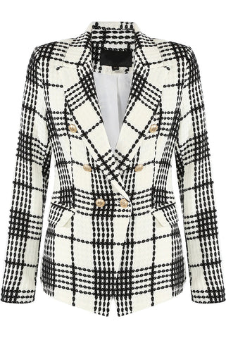 Cream Tweed Double Breast Check Blazer - Athena - storm desire