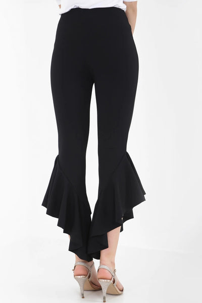 Black Flared Frill Hem Cropped Trousers - Kimberly - storm desire