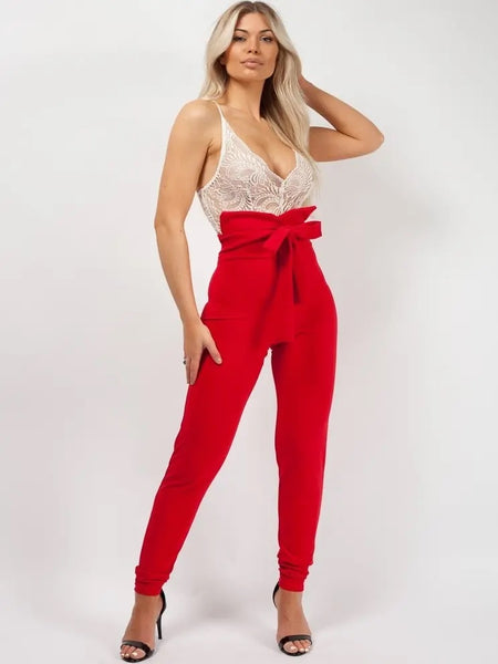 Red Tie Knot Front High Waist Trousers Pants - Cecilia - Storm Desire