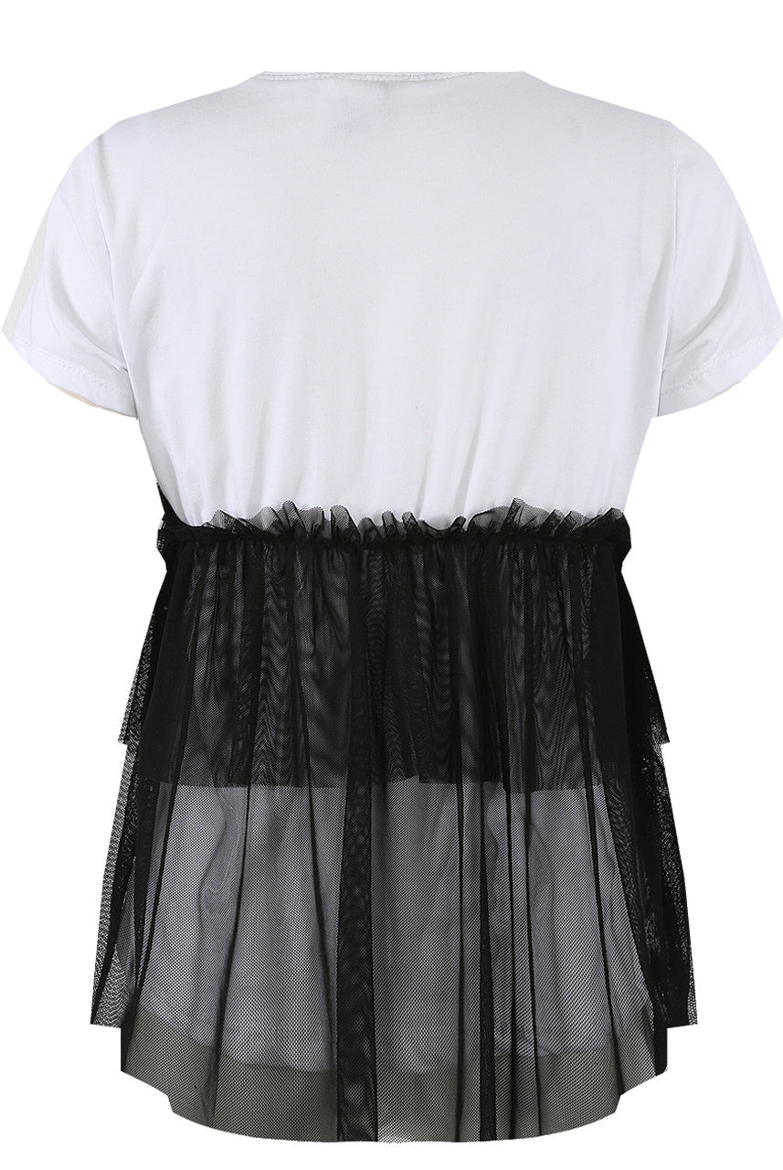 Black Coco Slogan Tulle Net Hem Top - Mariana