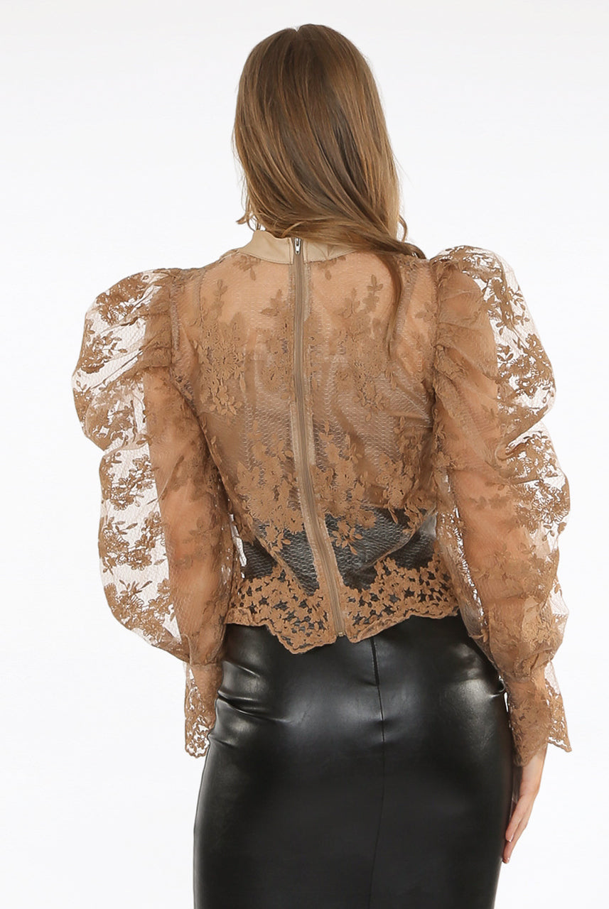 Mocha Lace Mesh Bow Embroidery Blouse - Alicia