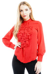 Hot Red Ruffle Front Frill Blouse Top - Samantha - Storm Desire